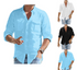 Solid Colors Button Up Top Stylish Men's Cotton Linen Pocket Long Sleeve Shirt Men's Shirts Tops