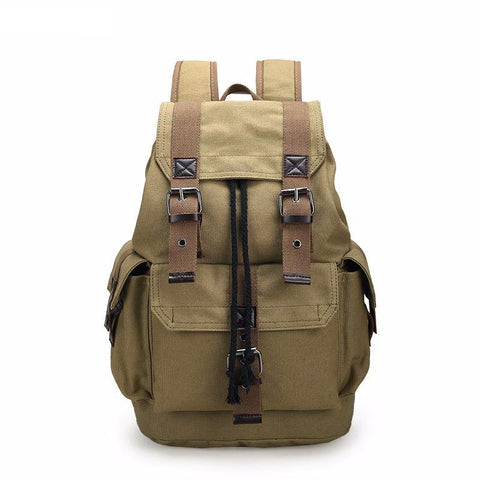 Quality Canvas Designer Backpack Genuine Leather Straps Vintage Rucksack Travell Well in Stylish Brown Satchel