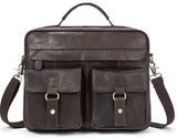 Vintage Briefcase Rustic Gray Distressed Leather Bag Laptop Messenger Crossbody Bags - Travell Well