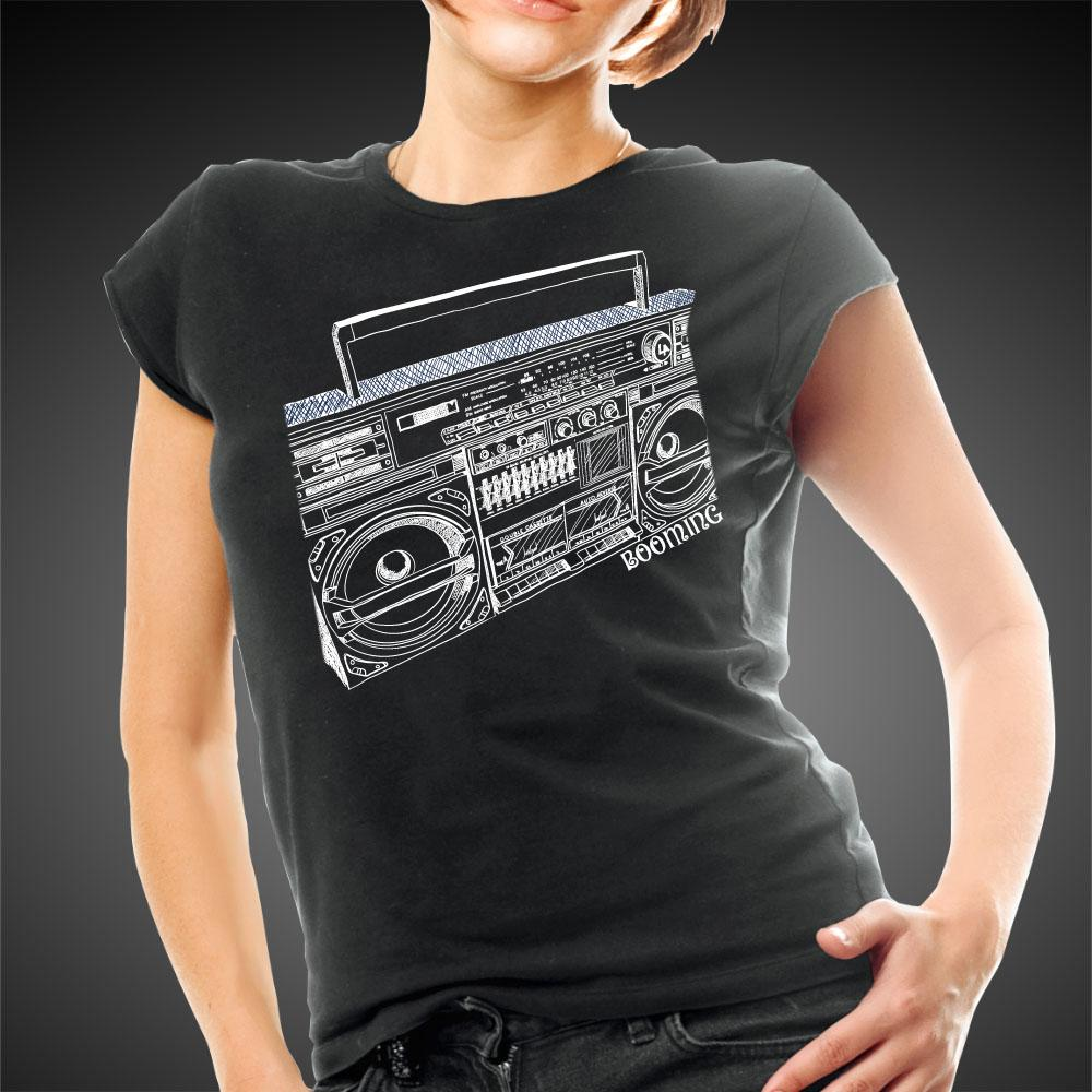 L.A. Girl Shirt Boombox Tee Old School Radio Boom Box Women Shirts - Travell Well