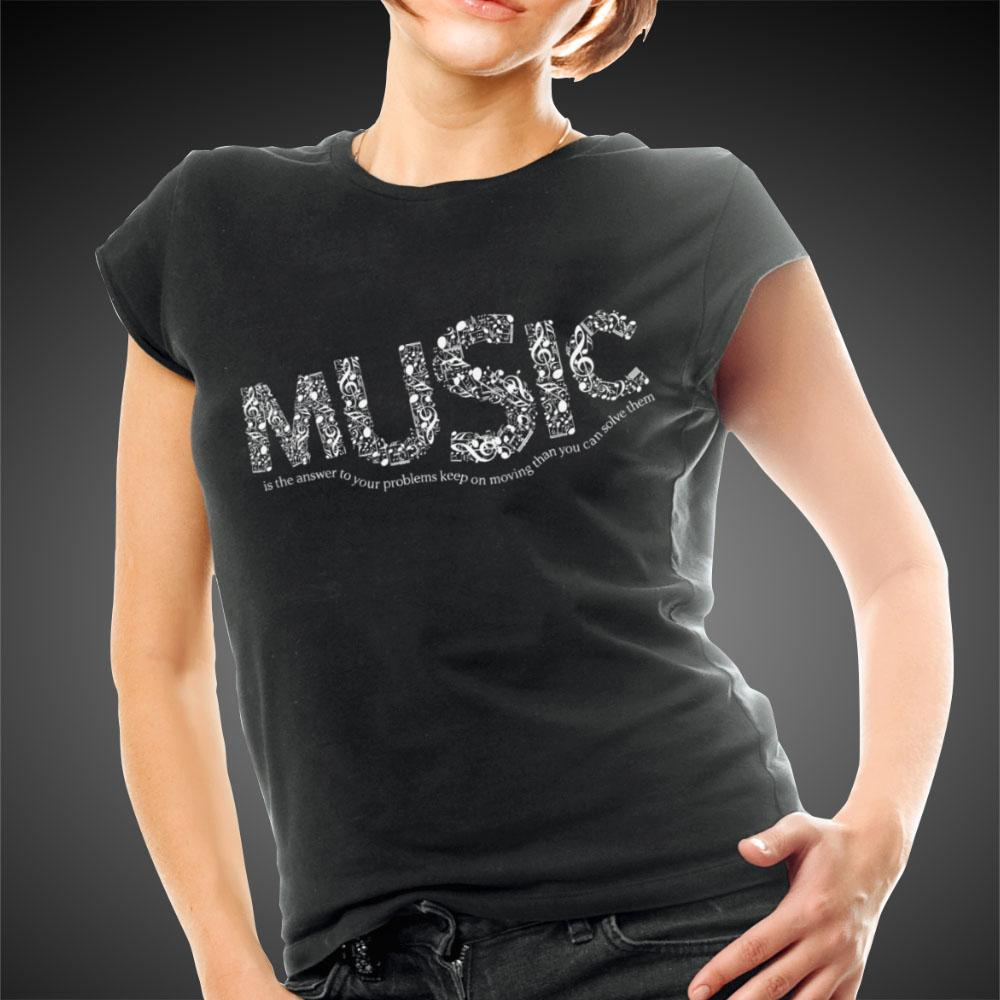 L.A. Girl Shirts Music Is The Answer Tees Women Shirt Top - Travell Well