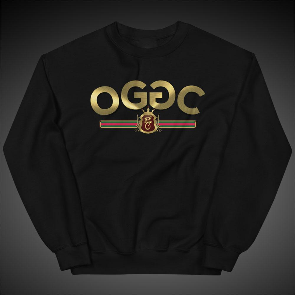 Womens Sweatshirts Gold Stripes Crewneck Pull-Over Sweatshirt Authentic OGGC Quality Apparel - Travell Well