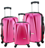 Burgundy Suitcase Set Designer Travel Luggage 3 Pc Spinner Lightweight Scratch-Resistant Hard Shell - Travell Well