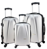 Silver Suitcase Set Designer Travel Luggage 3 Pc Suitcases Lightweight Scratch-Resistant Hard Shell - Travell Well