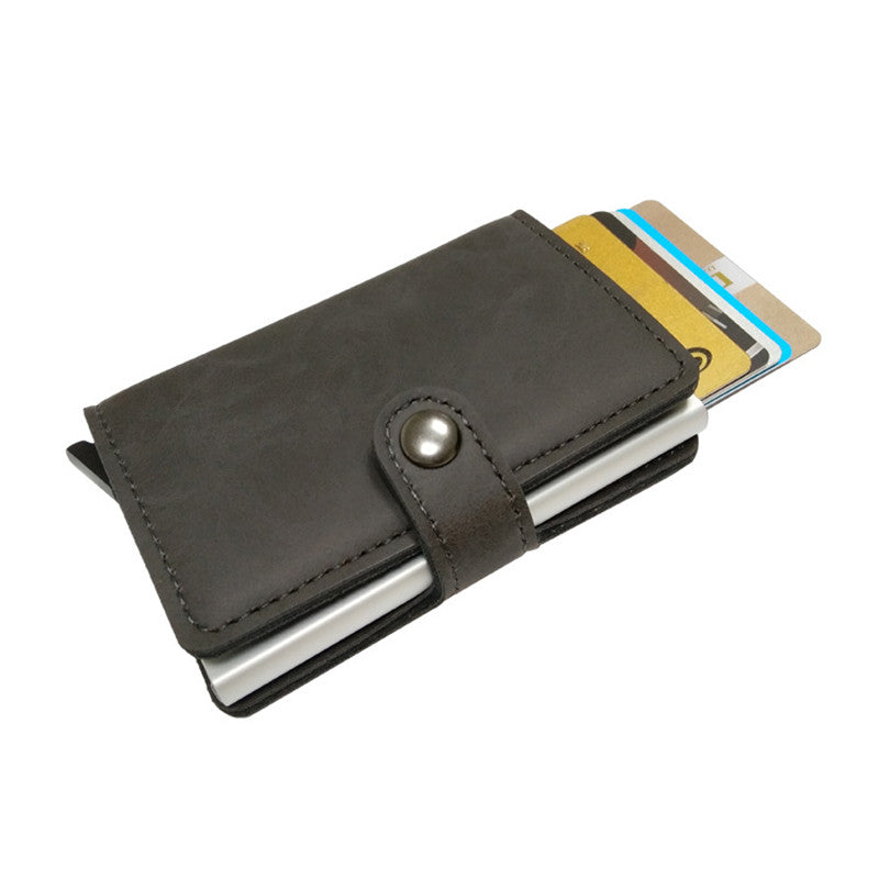 Best Antitheft Wallet Quality Metal Holder RFID Card ID Case PU Leather Black Brown Gray Wallets - Travell Well