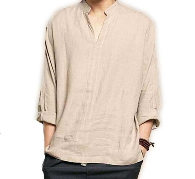 Vintage Classic Long V-Neck Shirt Cultural Retro Cotton Linen Long Sleeve Shirts Khaki Tops S-2X - Travell Well