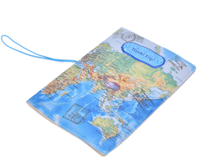 Portable World Map Passport Holder Cover Travel Wallet Card Case Organizer