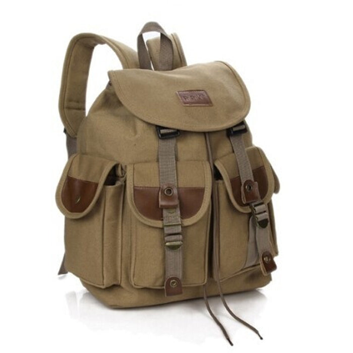 Canvas Army Backpack Travel Rucksack Military Green