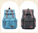 Vintage Canvas Blue Backpack Rucksack Sac à dos Mochila School Bag Laptop Carry On Travel Bag - Travell Well