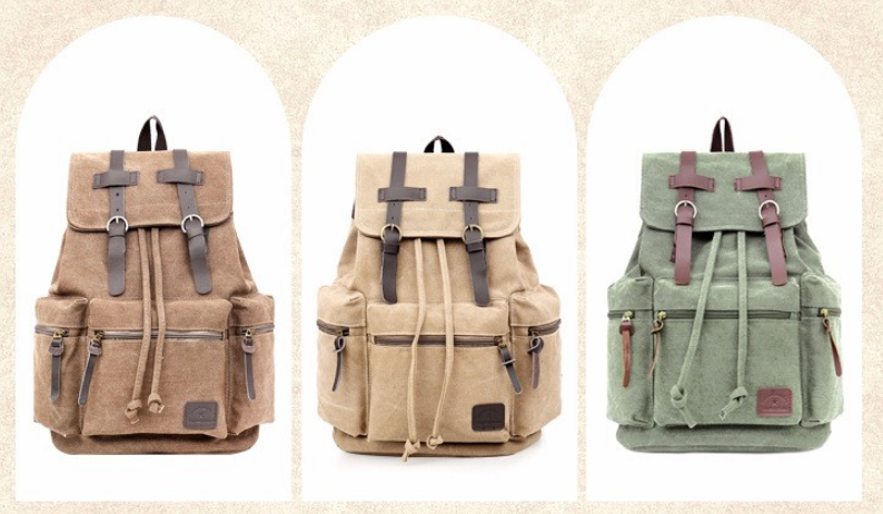 Canvas Vintage Military Backpack Army Green Rucksack Sac à dos Mochila Olive School Bags Laptop Carry-On Travel Pack Bags - Travell Well