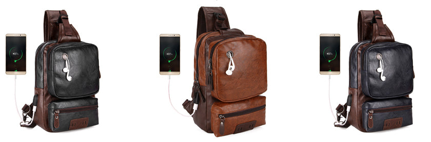 Quality Travel Handbag Anti-Theft External USB Charge Messenger Bag Patchwork Design Crossbody Bags - Travell Well