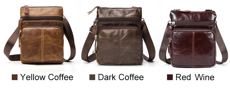 Genuine Leather Coffee Handbag Flap Shoulder Crossbody Small Messenger Quality Cell Phone HandBags - Travell Well
