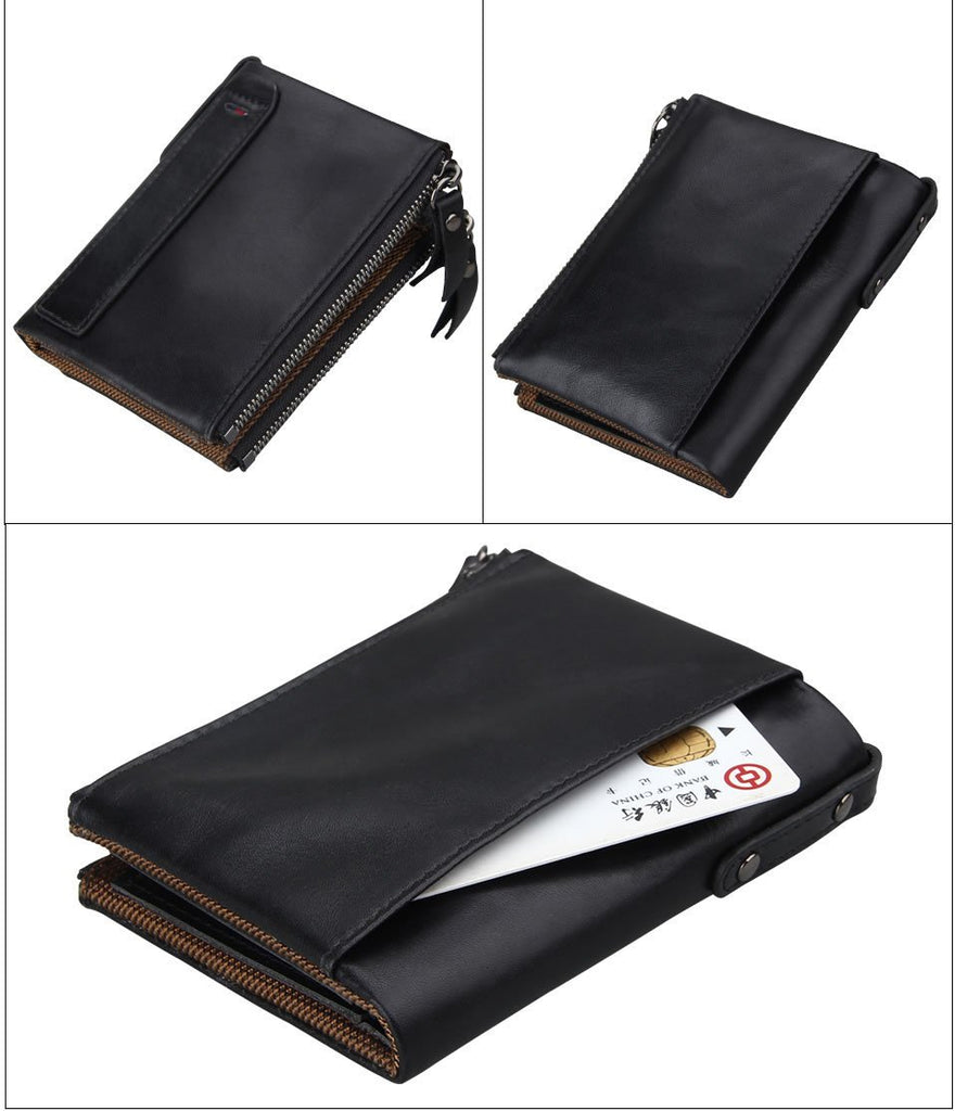 Best Anti-Theft Designer RFID Wallet Genuine Black Leather Quality Chip Protected Coin Bag Wallets - Travell Well