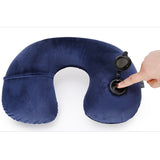Quality Travel Pillow Neck Rest Blue Inflatable Airplane Neck Pillow Comfortable Pillows - Travell Well