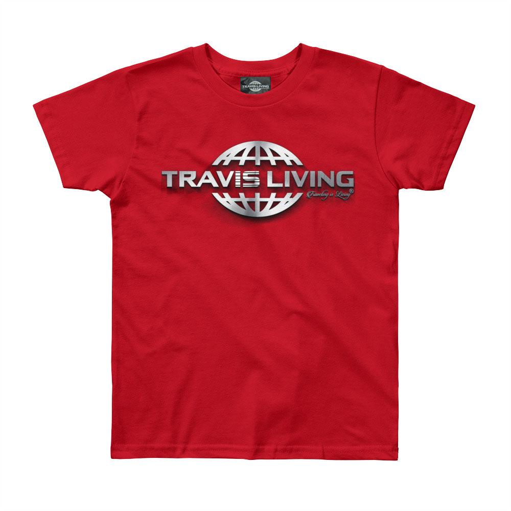 Travis Living Logo Shirt Boys Travel World 3D Globe Platinum Boy Tee Shirts - Travell Well