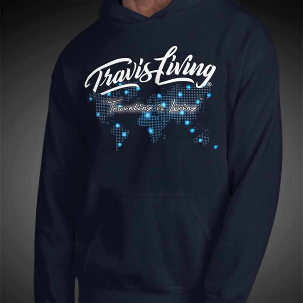 Travis Living Hoodie World Travel Map Men Hoodies Quality Hoods - Travell Well
