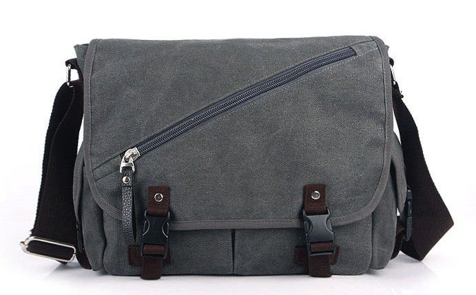 Vintage Men's Brown Messenger Bags Canvas Shoulder Bag Fashion Men Business Briefcases Crossbody Bag - Travell Well