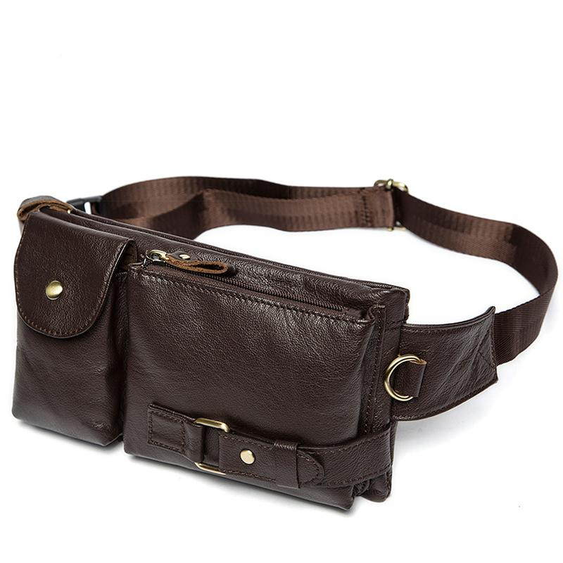 Genuine Brown Coffee Leather Travel Wallet Waist Packs Belt Quality Leather Fanny Waist Pack Bags - Travell Well