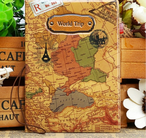 Travel wallets travell well world map passport cover creative pvc leather travel passport holder case credit card money id holders gumiabroncs Image collections