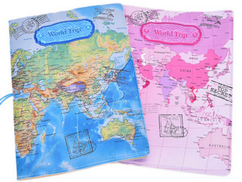 Travel wallets travell well world map passport cover holder creative travel trip pvc leather passport holders in blue pink brown map cover case for card id money passport holders gumiabroncs Choice Image