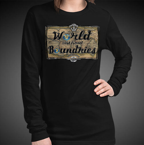World Without Boundaries Travel Tee Girls Long Sleeve Shirt Authentic Quality Womens Shirts - Travell Well
