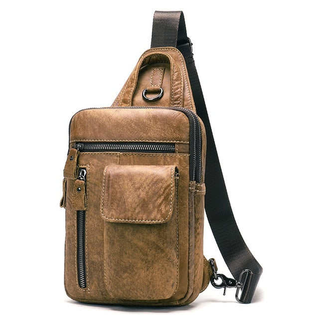 Mens Light Brown Leather Messenger Shoulder Sling Crossbody Bags - Travell Well