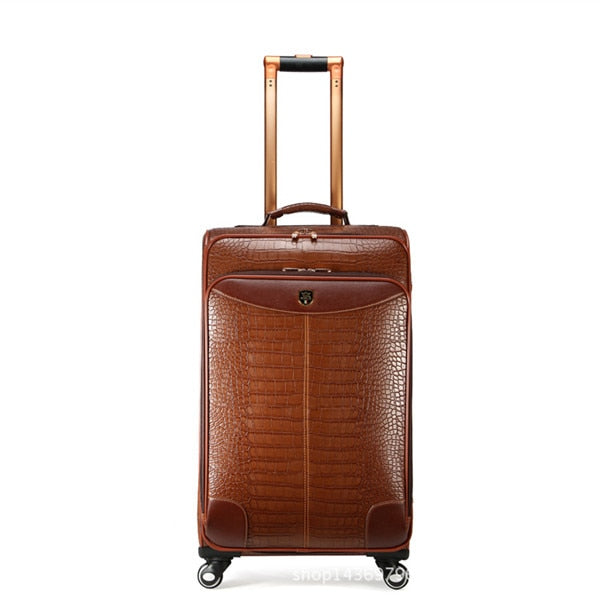 Trolley Suitcase Quality Crocodile Pattern Rolling Wheel Luggage Case PU Leather Business Travel Trolleys - Travell Well