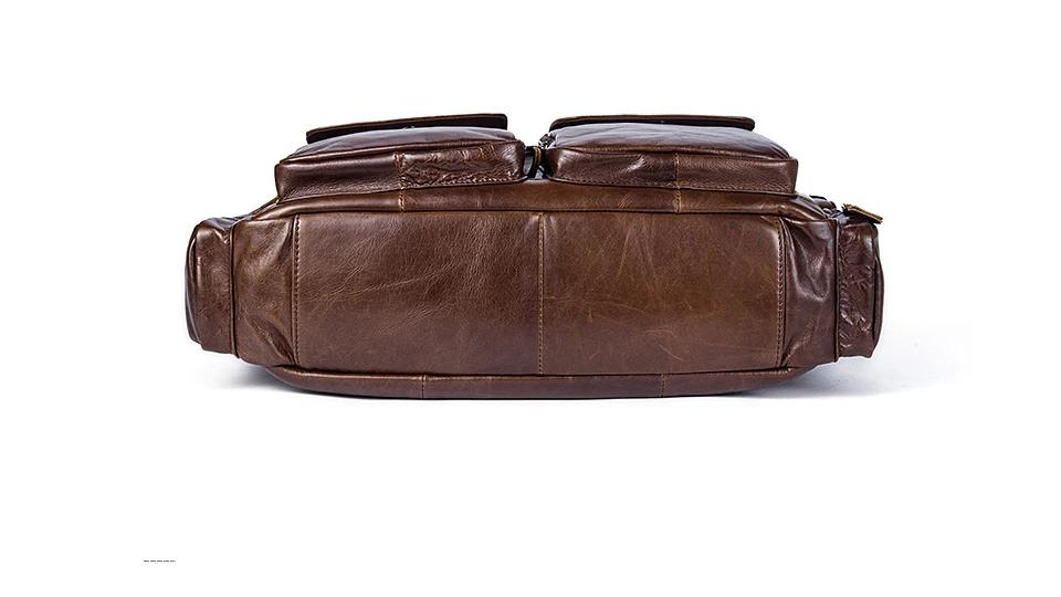 Men's Briefcase Genuine Leather Laptop Document Business Handbag - Travell Well