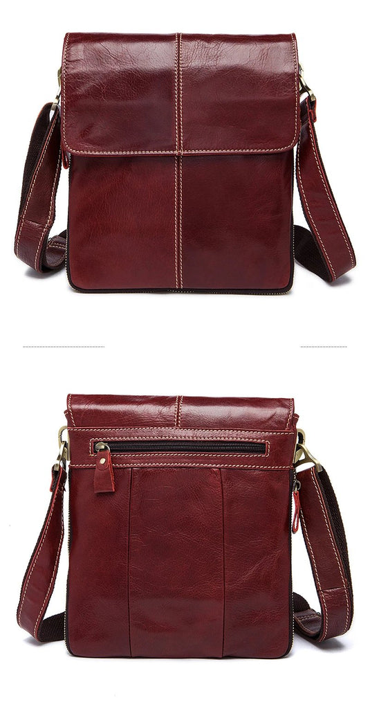Men Red Leather Small Messenger Shoulder Crossbody Handbags - Travell Well