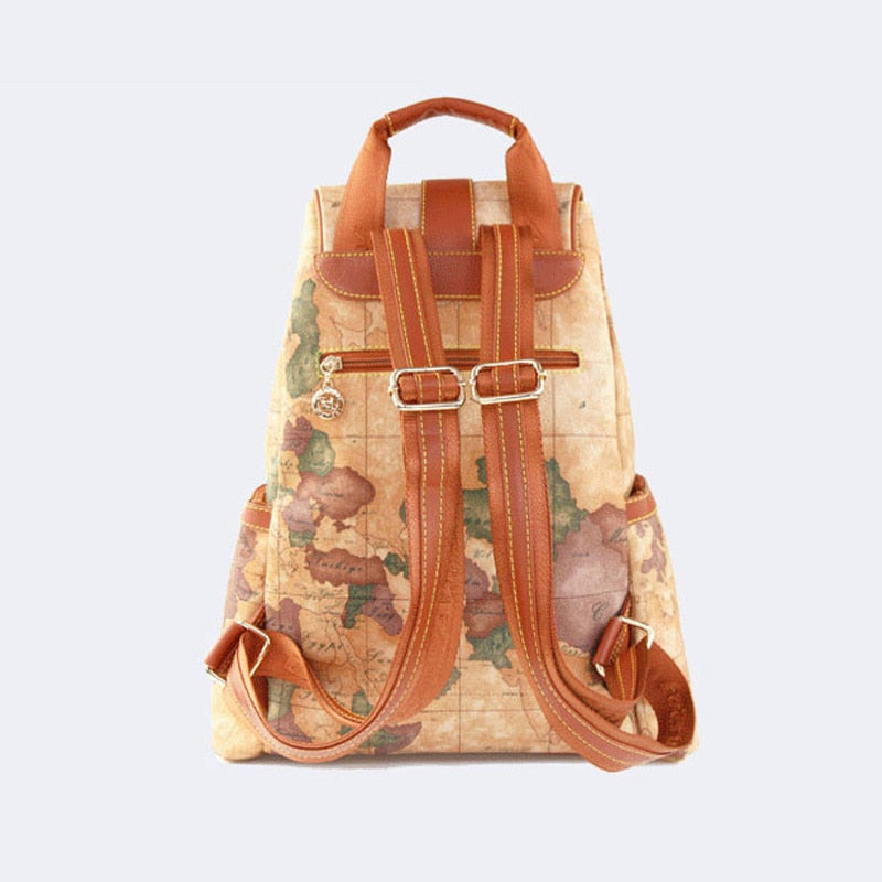 Women's vintage leather printing high quality backpack - Travell Well