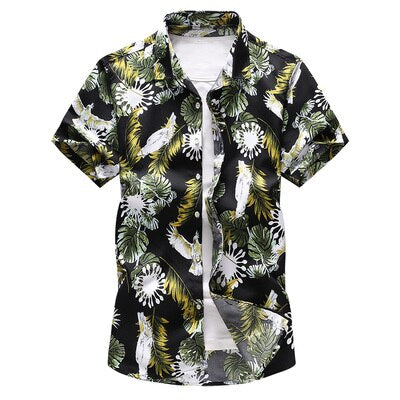 Designer Green Yellow Flower Hawaiian Style Button Shirt Beach Island Vacation Men Shirts Vintage Short Sleeve Button Down Mens Tops
