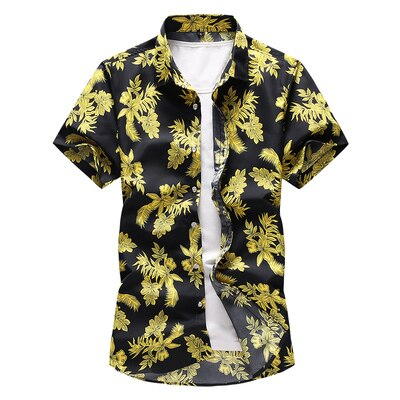 Designer Yellow Palm Hawaiian Style Button Shirt Beach Island Vacation Men Shirts Vintage Short Sleeve Button Down Mens Tops