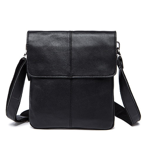 Mens Oil Coffee Leather Small Messenger Shoulder Crossbody Handbags - Travell Well