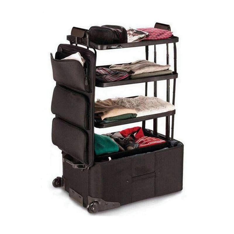 Super Trolley Suitcase Dresser Large Capacity 3 Level Travel Drawer Shelf Stand Rolling Luggage Travel Solution Baggage Case Oxford Cloth Multi Use Suitcase Trunk - Travell Well