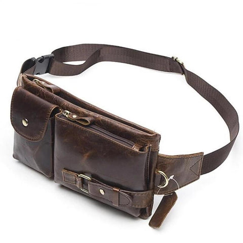 Genuine Leather Travel Wallet Waist Packs Belt Bag Phone Quality Leather Fanny Pouch Pack Waist Bags