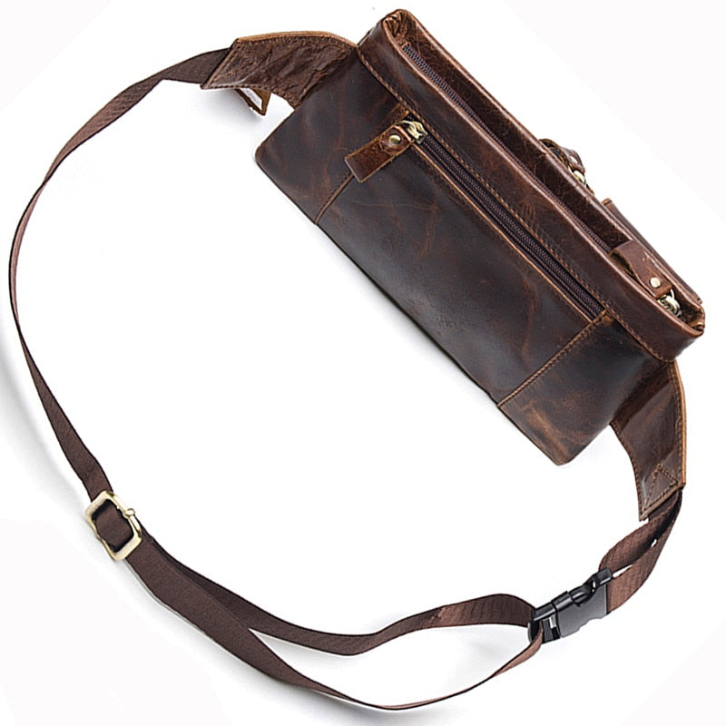 Men's Genuine Leather Waist Packs Belt Travel Wallet - Travell Well