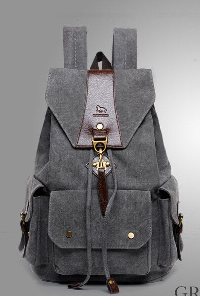 Designer Canvas Backpack Sac a Dos Casual Canvas Drawstring School Work Travel Bag Rucksack - Travell Well