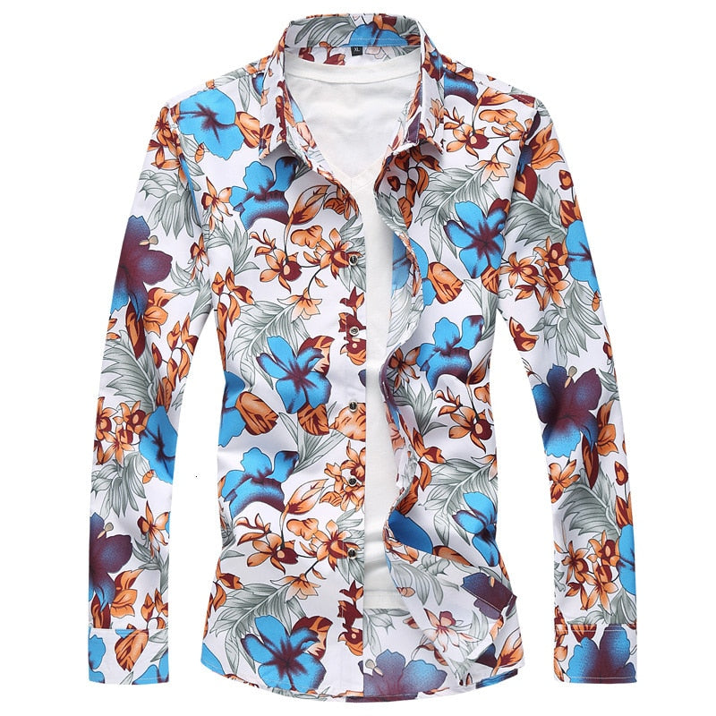 Blue Flower Floral Silver Leaf Shirt Designers Men Long Sleeve Shirt Style Men's Tops