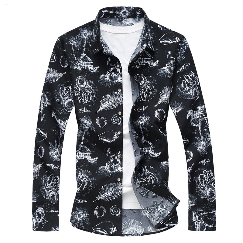 White Feather Floral Sea Creature Shirt Designers Men Long Sleeve Shirt Style Men's Tops