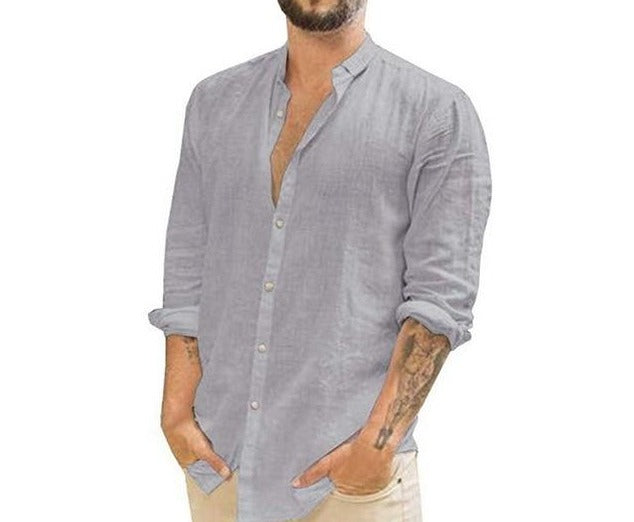 Fashionable Gray Button Up Long Sleeve Cotton Linen Shirts Casual Dress Men's Solid Color Shirt Tops