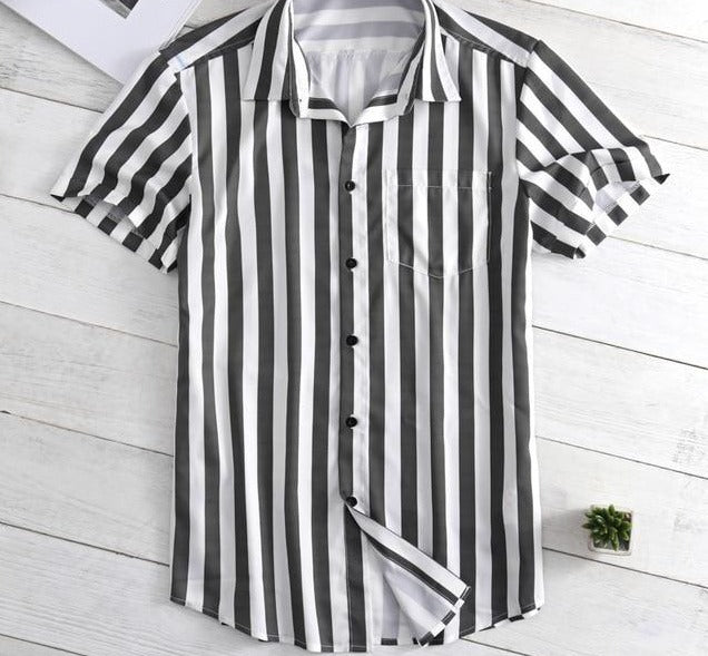 Striped Button Shirt Lapel Neck Button Casual Black & White Stripe Shirts Short Sleeve Tops