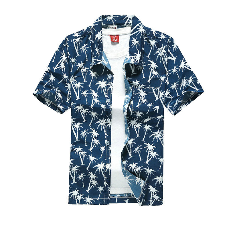 Blue Green Palm Tree Luau Style Button Shirt Beach Island Vacation Men Shirts Vintage Short Sleeve Button Down Mens Tops