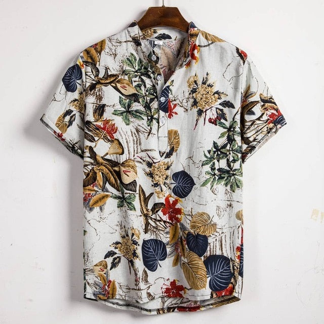 Designer Summer Shirt Hawaiian Style Henley Cotton Linen Short Sleeve Loose Casual Luau Men Tops