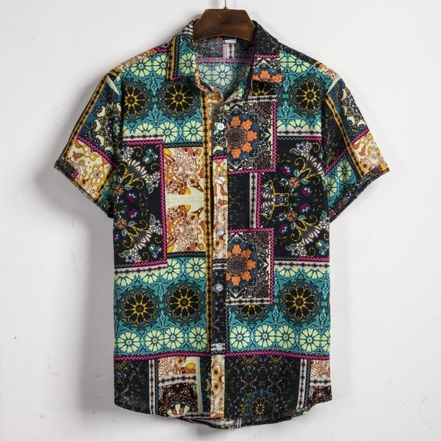 Space Flower Designer Shirt Luau Style Henley Short Sleeve Loose Casual Men Tops