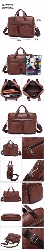 Vintage Leather Coffee Brown Messenger Briefcase Bag Top Handle Shoulder Laptop Business Men Bags - Travell Well