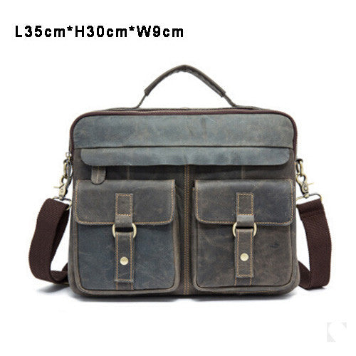 Vintage Briefcase Rustic Leather Laptop Messenger Top Handle Bag Crossbody Travel Bags Multi-Colors - Travell Well