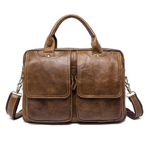 Genuine Leather Yellow Camel Brown Messenger Briefcase Bag Shoulder Crossbody Laptop Business Bags - Travell Well