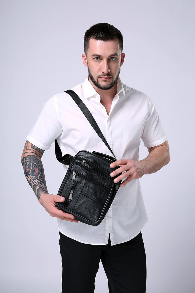 Black Leather Handbag Men's Messenger Best Basic Reliable Mini Briefcase Adjustable Strap Bag - Travell Well