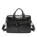 Vintage Black Leather Briefcase Messenger Top Handle Men's Business Bags Laptop Briefcases - Travell Well