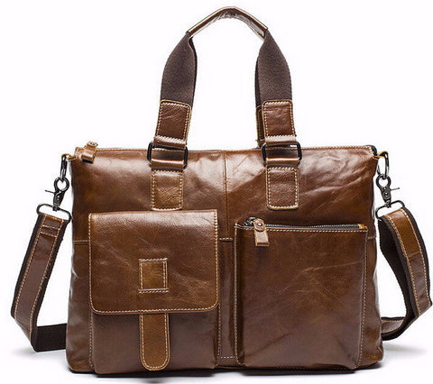 Leather Laptop Bag Genuine Men Bags Briefcases Handbag Totes Crossbody Messenger Bags Shoulder